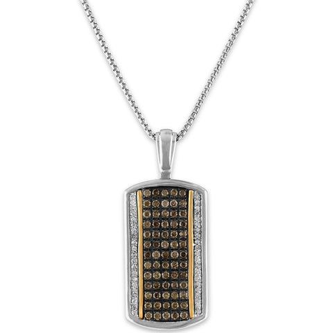 The Men's Corner 1/6 ct. t.w. Brown and White Diamond Pendant Set in 10kt Yellow Gold and Sterling Silver, 22""