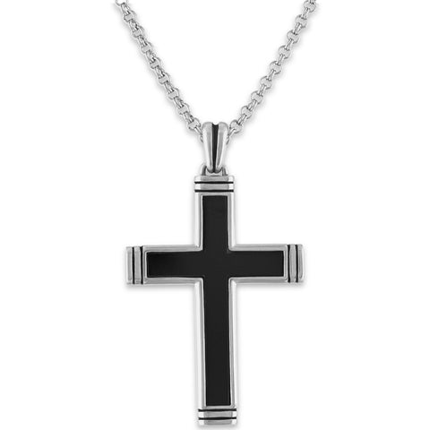 The Men's Corner Sterling Silver Black Onyx Cross Pendant, 22""