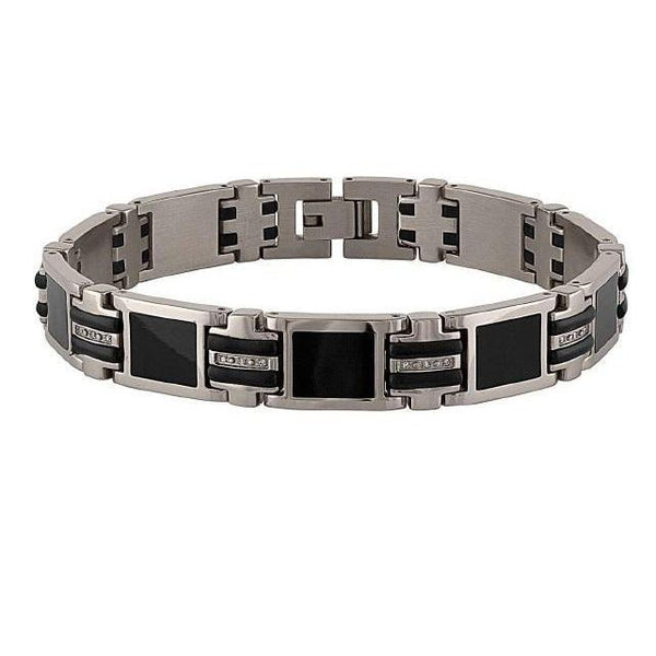 The Men's Corner 1/10 ct. t.w. Black Ion Stainless Steel Bracelet, 8.75""