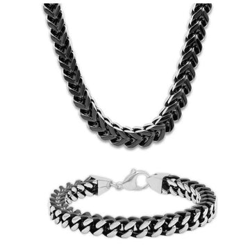 The Men's Corner Foxtail Chain Necklace & Bracelet Set Stainless Steel