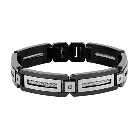 The Men's Corner Black Ion Plated Stainless Steel Diamond Accent (.05 ct. t.w.) Men's Bracelet with Fold Over Clasp- 8.75 Inches