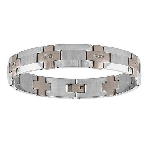 The Men's Corner 1/8 ct. t.w. Diamond Tungsten Stainless Steel Bracelet, 8.75""