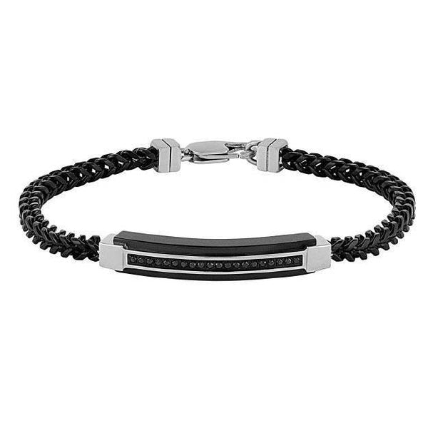 The Men's Corner 1/5 ct. t.w. Black Diamond ID Bracelet in Black Ion Plated Stainless Steel, 8.50""