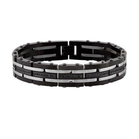 The Men's Corner Black Ion Plated Stainless Steel Diamond Accent (1 ct. t.w.) Men's Bracelet with Fold Over Clasp - 8.5 Inches