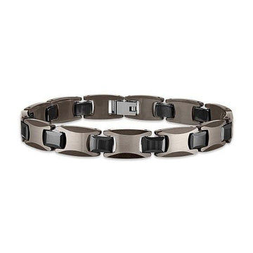 The Men's Corner Black Ion Plated and Tungsten Link Bracelet, 8.50