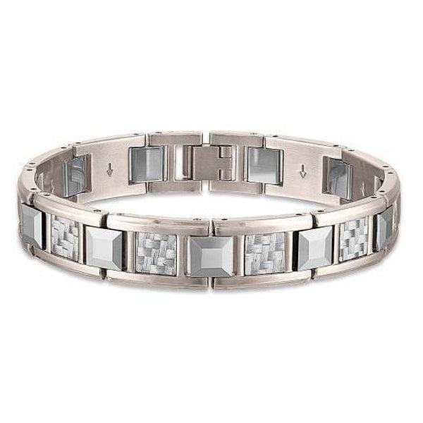 The Men's Corner Stainless Steel, Tungsten and Grey Carbon Fiber Link Bracelet, 8.50""