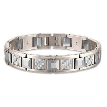 The Men's Corner Stainless Steel, Tungsten and Grey Carbon Fiber Link Bracelet, 8.50