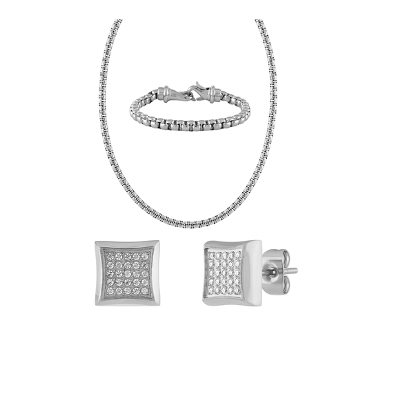 The Men's Corner 1/4 ct. t.w. Diamond Earring, Necklace and Bracelet Set