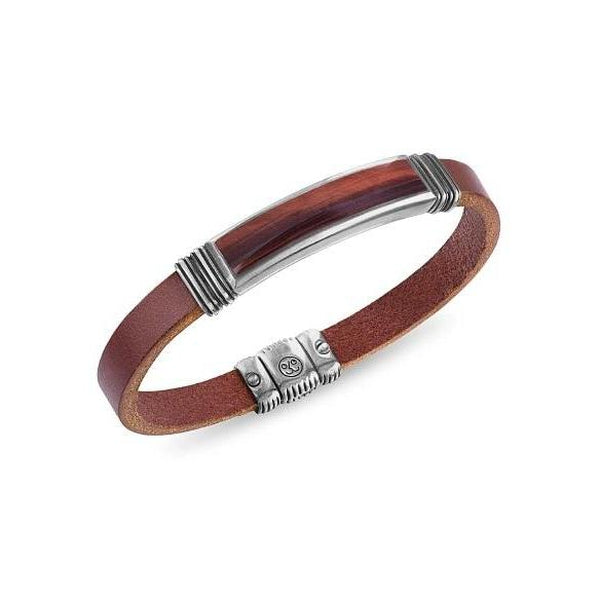 Esquire Men's Jewelry Red Tiger's Eye (45 x 15mm) Brown Leather Bracelet in Sterling Silver , 8.50""