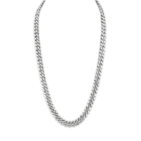 Esquire Men's Jewelry Sterling Silver 9.15x3.6mm Diamond Cut Curb Link Necklace, 22""