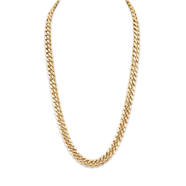 Esquire Men's Jewelry 14kt Gold over Sterling Silver 9.15x3.6mm Diamond Cut Curb Link Necklace, 22