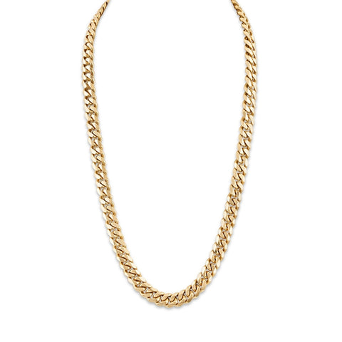 Esquire Men's Jewelry 14kt Gold over Sterling Silver 9.15x3.6mm Diamond Cut Curb Link Necklace, 22""