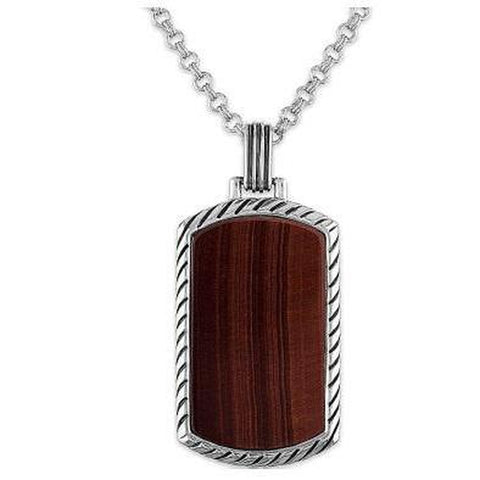 "Esquire Men's Jewelry Red Tiger's Eye (33x18mm) Dog Tag Pendant, 22""  Rolo Sterling Silver Chain"