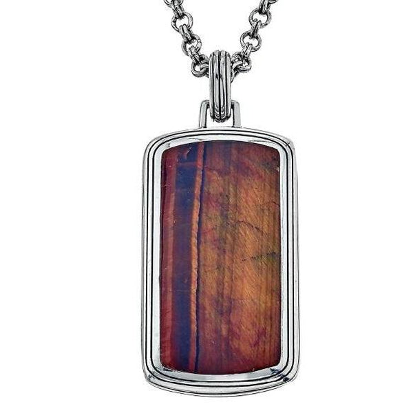 Esquire Men's Jewelry Sterling Silver Red Tiger's Eye Dog Tag Pendant, 22""