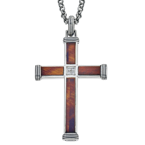 "Esquire Men's Jewelry Red Tiger's Eye and Diamond Accent Cross Pendant Set in Sterling Silver Includes 22"" Rolo Sterling Silver Chain"