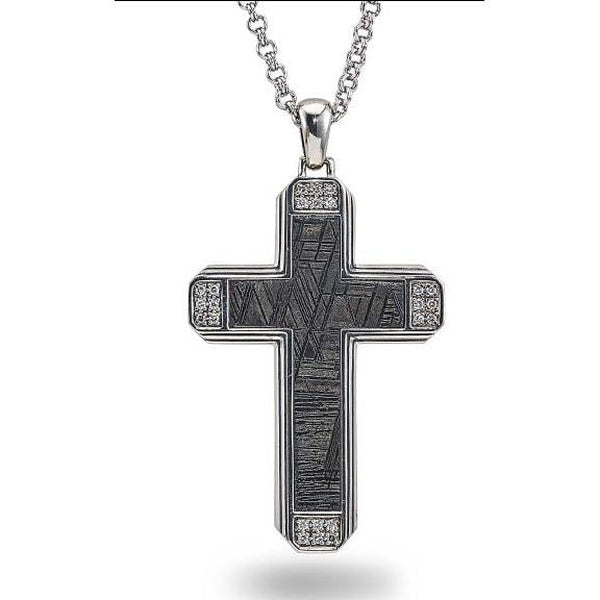 Esquire Men's Jewelry Meteorite (22x35mm) and 1/4 ct. t.w. diamond Cross Pendant in Sterling Silver, Includes 22