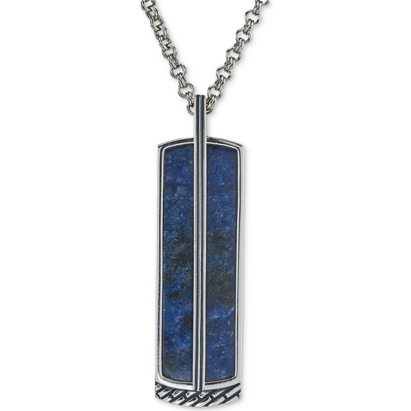 "Esquire Men's Jewelry Sodalite and Diamond Accent Pendant Necklace in Sterling Silver, Includes 22"" Rolo Sterling Silver Chain"