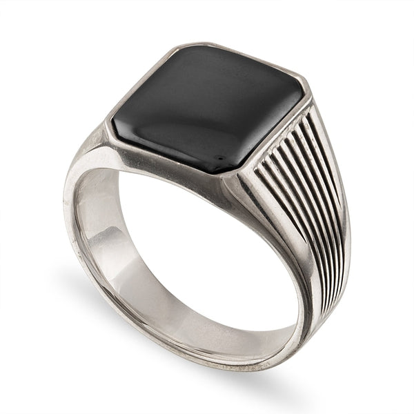 Esquire Men's Jewelry-Fashion Fine line Ring with Hematite