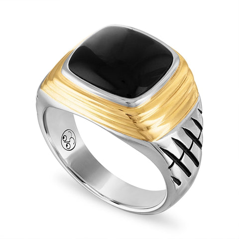 Esquire Men's Jewelry Black Onyx (12 x 10mm) Ring in Sterling Silver & 14k Gold over Sterling Silver