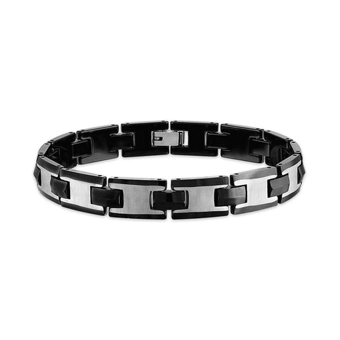 Esquire Men's Jewelry Black Ion Plated Over Stainless Steel and Tungsten Link Bracelet, 8.50""