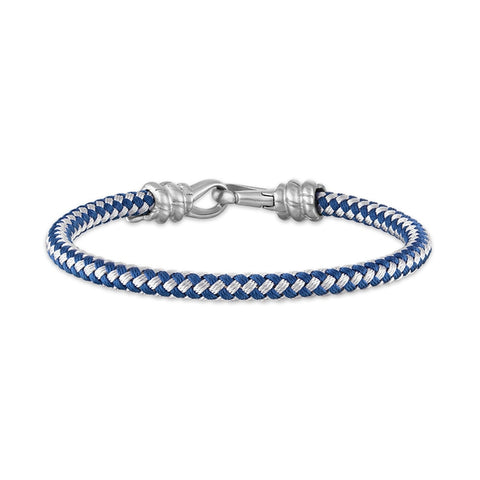 Esquire Men's Jewelry 5mm Blue and White Woven Corded Bracelet with Stainless Steel Clasp, 8.50""