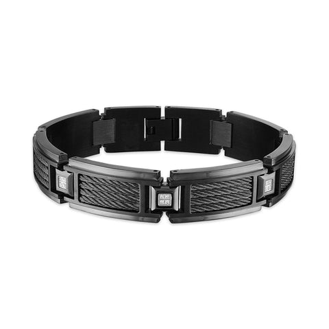 Esquire Men's Jewelry 1/10 ct. t.w. Diamond Gun Metal Stainless Steel Link Bracelet, 8.50""