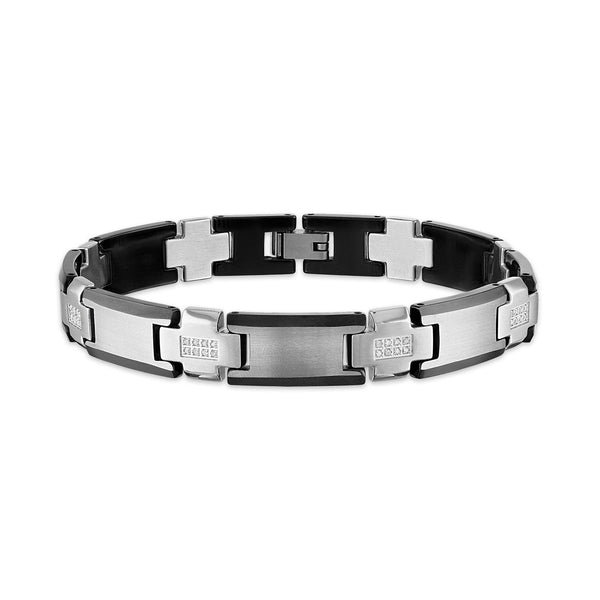 Esquire Men's Jewelry Diamond Link bracelet 1/4 ct .tw in Stainless Steel and Tungsten , 8.50""