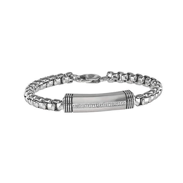 Esquire Men's Jewelry 1/10 ct. t.w. Diamond Stainless Steel ID Bracelet, 8.50""