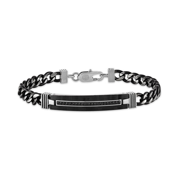 Esquire Men's Jewelry 1/5 ct. t.w. Black Diamond ID Curb Link Chain Bracelet Set in Black Ion Plated Stainless Steel, 8.50""