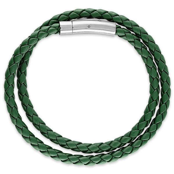 Esquire Men's Jewelry Double Wrap Green Genuine Leather Bracelet