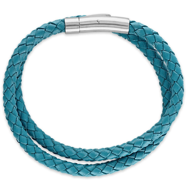 Esquire Men's Jewelry Double Wrap Turquoise Colored Genuine Leather Bracelet
