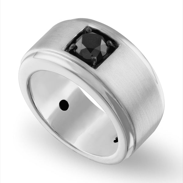 The Men's Corner Sterling Silver 1 ct. t.w Black Diamond Men's Ring, Size 10