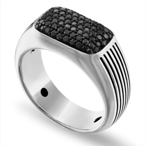 The Men's Corner Sterling Silver 3/4 ct. t.w. Black Diamond Ring, Size 10
