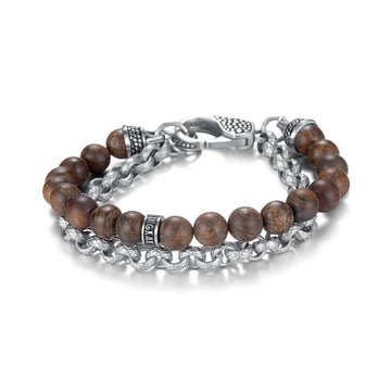 Kingka Men's Collection - Mens Bracelet Ensemble Silver & Brown Bronzite 8mm Stones with Stainless Steel