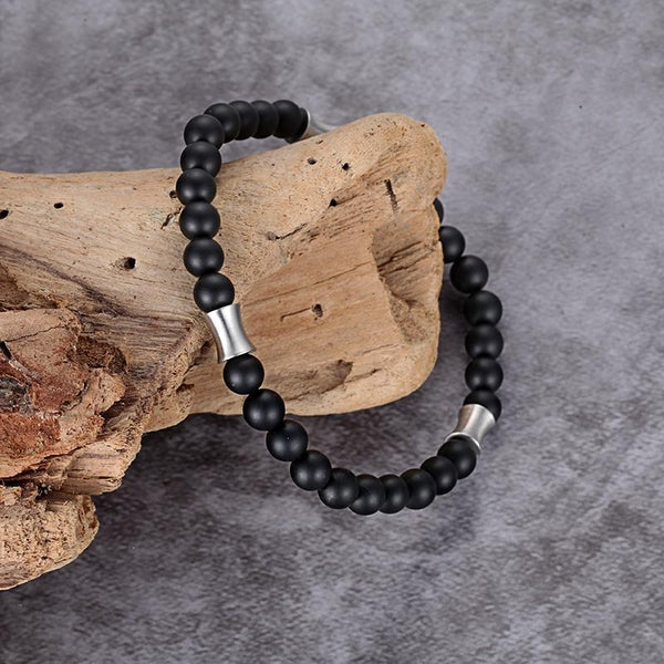 Kingka Men's Collection - Matt Onyx Stone Bracelet Stainless Steel Elements