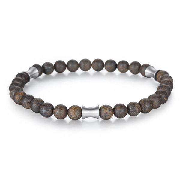 Kingka Men's Collection - Matt Onyx Stone Bronzite Beads Bracelet Stainless Steel Tube Elements