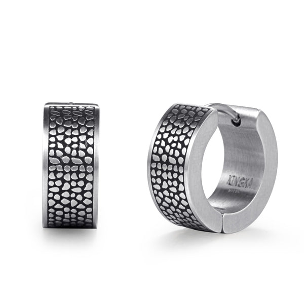 Kingka Men's Collection - Men's Stainless Steel Men Creoles Huggie Earrings Reptile