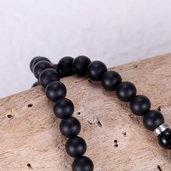 Kingka Men's Collection - Matt Onyx Beads Quartz Stone Stainless Steel Necklace