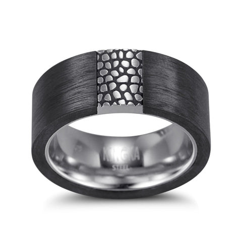 Kingka Men's Collection - Reptile Carbon Black  & Stainless Steel Ring 11mm Width