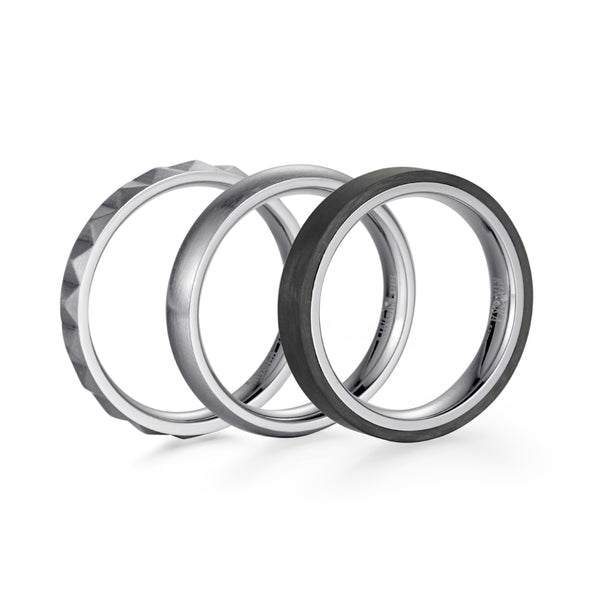 Kingka Men's Collection - Pyramid carbon Stacking Ring Black, Carbon &  Silver color Stainless Steel Set of 3