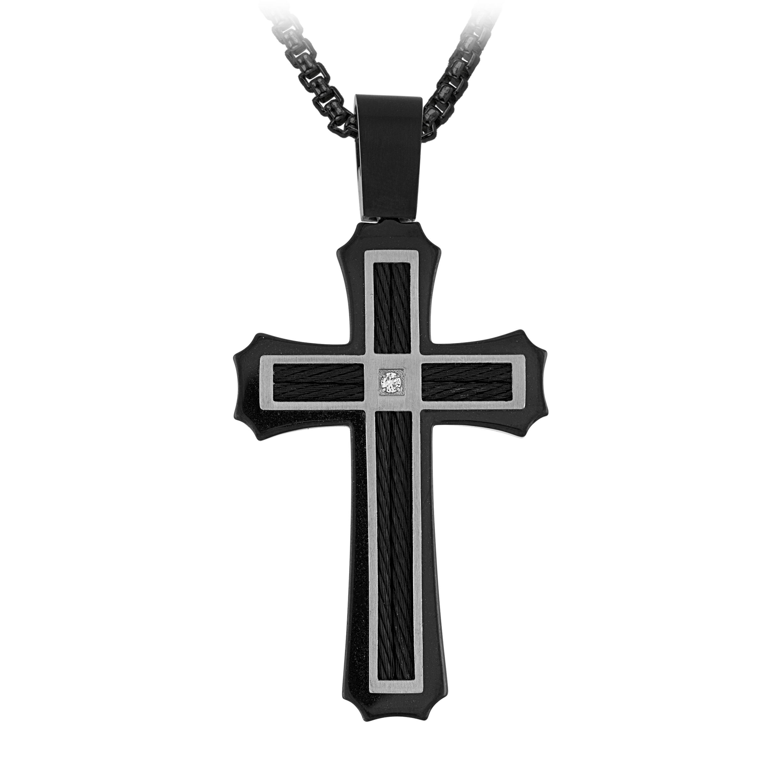 "The Men's Corner  Pendant 0.03cttw Diamond Accent with Black Ion Plated Stainless Steel includes 22"" Chain"