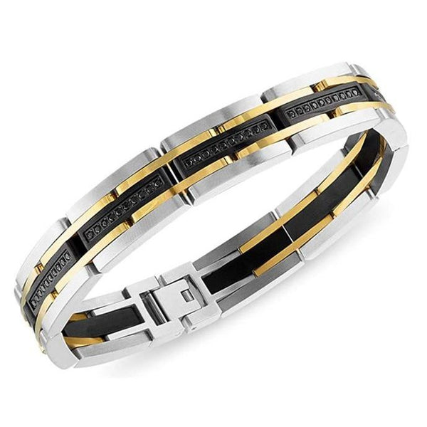 Esquire Men's Jewelry 1/2 tw Black Diamond Stainless Steel Bracelet