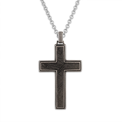 "Esquire Men's Jewelry Meteorite (24x37mm) Cross Pendant set in Sterling silver, Includes 22"" Rolo Sterling Silver Chain"