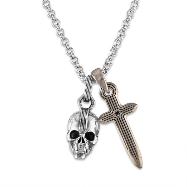 "Esquire Men's Jewelry Skull and Dagger Charm Pendant set in Sterling Silver, Includes 24"" Rolo Sterling Silver Chain"
