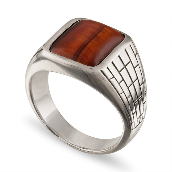 Esquire Men's Jewelry Red Tiger's Eye (14.50x11.50) Brick Patterned Ring Set in Sterling Silver