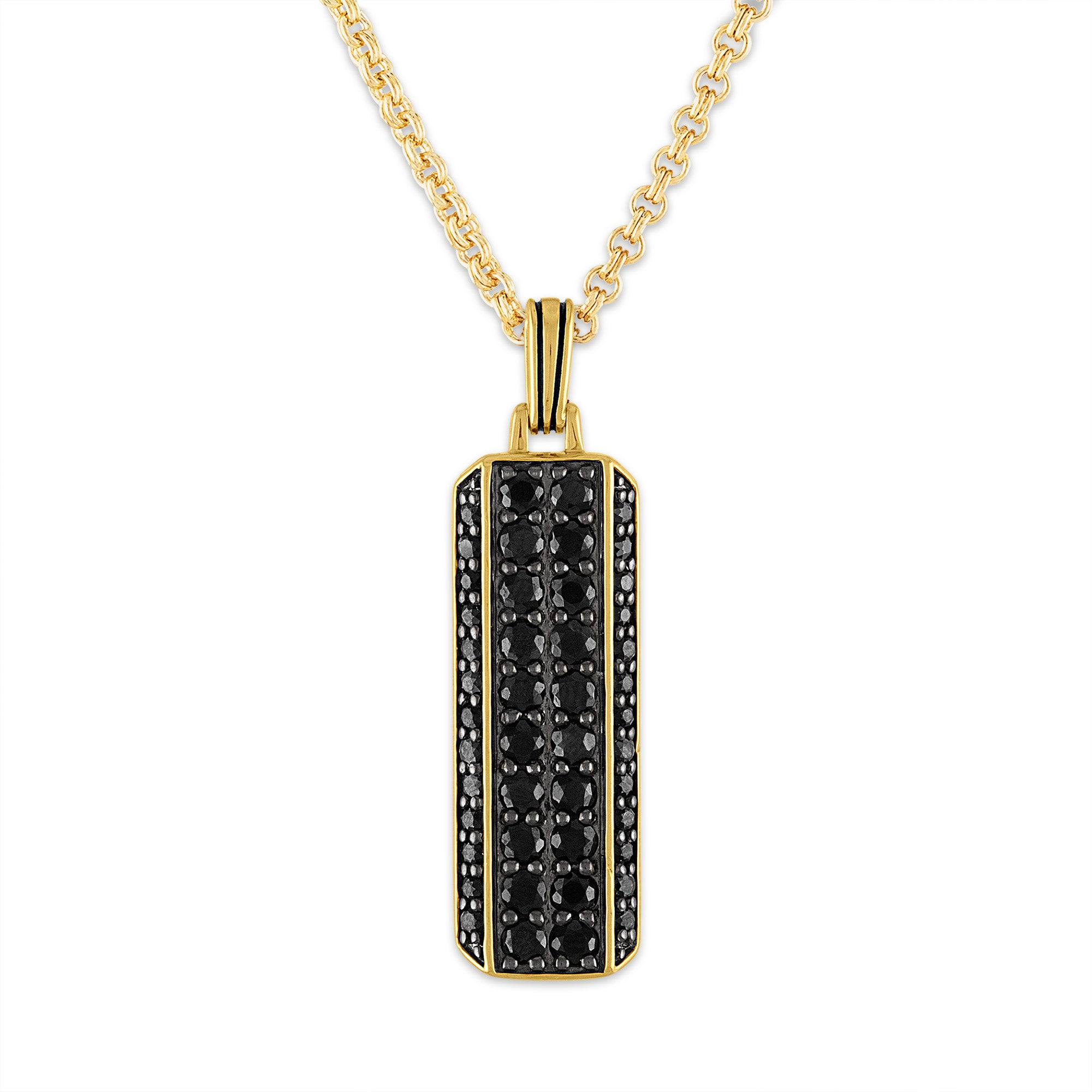 Esquire Men's Jewelry 14kt Gold over Sterling Silver 2 3/4 ct. t.w. Black Sapphire Pendant Necklace, 22""