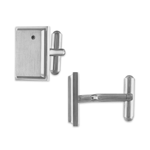 The Men's Corner Stainless Steel Diamond Accent Cufflinks