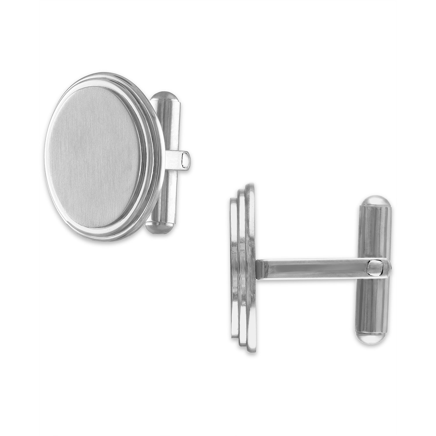 The Men's Corner Stainless Steel Oval Cufflink