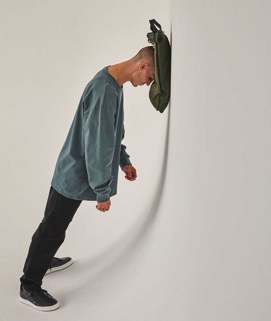GARMENT PROJECT MAN L/S OverSize Tee - Balsam Green LS T-shirt 245 Balsam Green