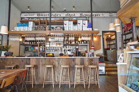 bar stools in front bar at friends of ham ilkley